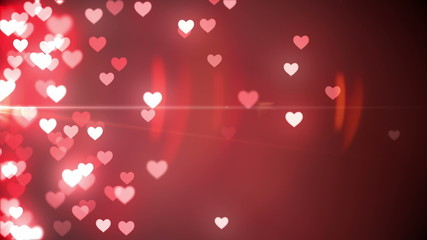Glittering hearts on red background