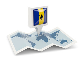 Square pin with flag of barbados on the map
