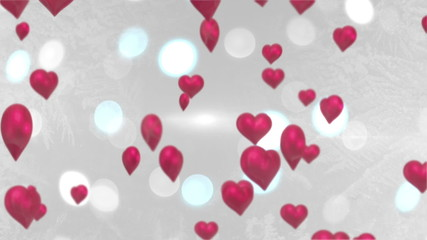 Pink hearts floating against glittering background