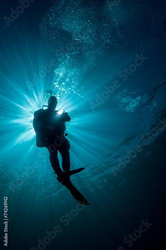 Deurstickers Duiken diver silhouette