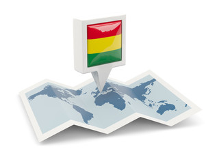 Square pin with flag of bolivia on the map