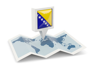 Square pin with flag of bosnia and herzegovina on the map