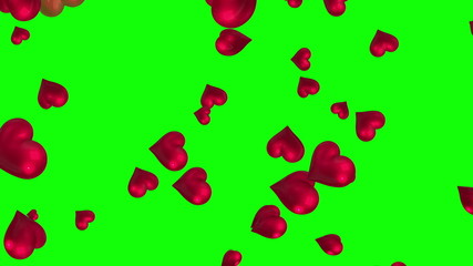 Pink hearts floating against green screen