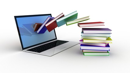 Books fly in laptop