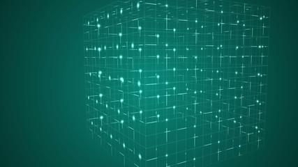 Grid moving on dark background