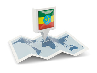 Square pin with flag of ethiopia on the map