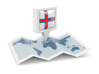 Square pin with flag of faroe islands on the map