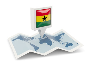 Square pin with flag of ghana on the map