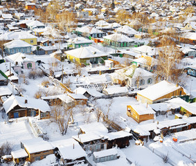 Aerial view of houses at winter season