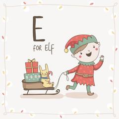 Cute vector alphabet Christmas. Letter E - ELf