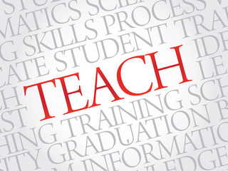 TEACH. Word education collage on gray vector background