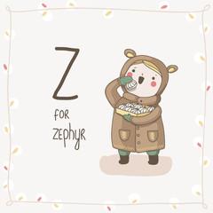 Cute vector Alphabet Christmas. Letter Z - Zephyr