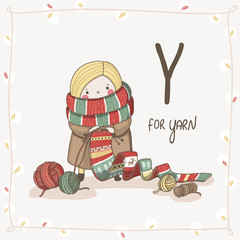 Cute vector Alphabet Christmas. Letter Y - Yarn