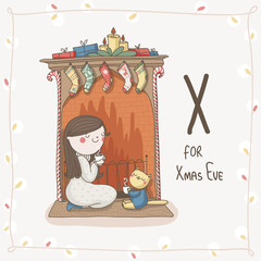 Cute vector Alphabet Christmas. Letter X - Xmas Eve