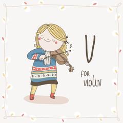 Cute vector Alphabet Christmas. Letter V - Violin