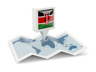 Square pin with flag of kenya on the map