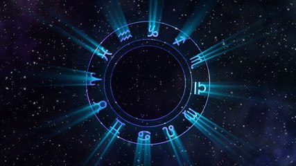 Animation of the zodiac wheel gyrating in the space