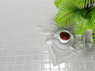 a cup on the napkin