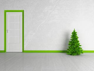 Christmas tree near the door