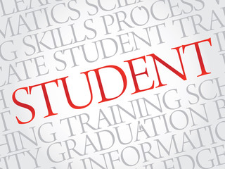 STUDENT. Word education collage on gray vector background