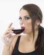 Quadro Ragazza con bicchiere di vino rosso