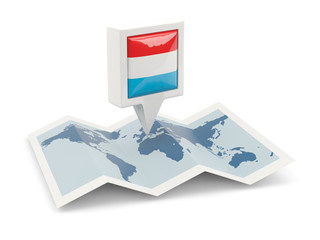 Square pin with flag of luxembourg on the map