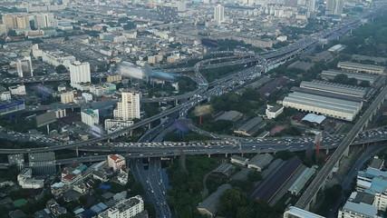 Bangkok city day view with main traffic,  Thailand