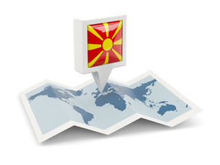 Square pin with flag of macedonia on the map