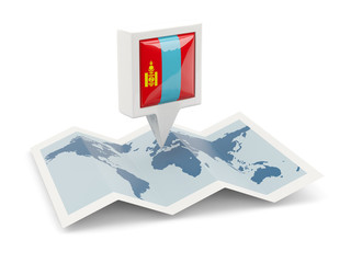 Square pin with flag of mongolia on the map