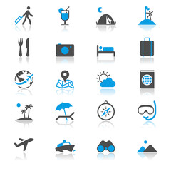 Traveling flat with reflection icons