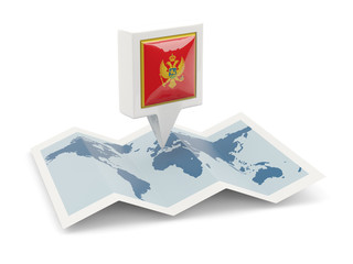 Square pin with flag of montenegro on the map