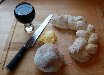 fresh cooked bread and butter