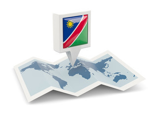 Square pin with flag of namibia on the map