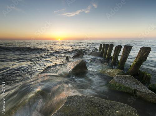 canvas print picture zachód słońca nad Bałtykiem