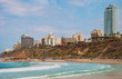 View of  beach and  waterfront city of Netanya in Israel