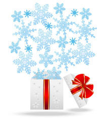 gift box with blue snowflakes