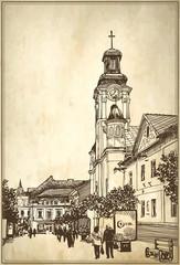 sketch vector illustration of Uzhgorod cityscape