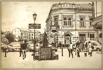 sketch vector illustration of Uzhgorod cityscape