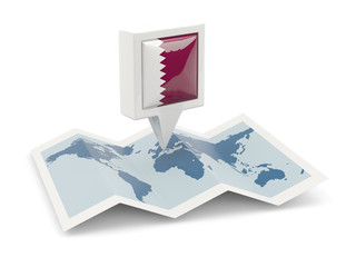 Square pin with flag of qatar on the map