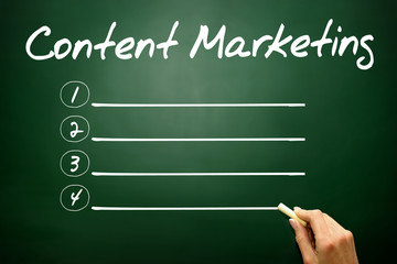 Content Marketing blank list, business concept on blackboard