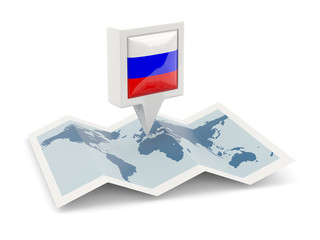 Square pin with flag of russia on the map