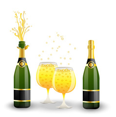 bottles and glasses with champagne on a white background
