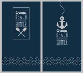Hipster web media backdrop. Badge label over sea background