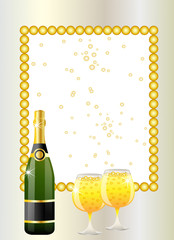 festive postal with a bottle and glasses of champagne