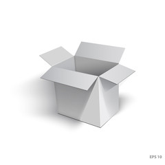 Open cardboard box with a realistic shadow