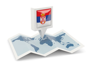 Square pin with flag of serbia on the map