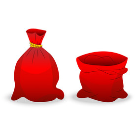 two red sacks on a white background