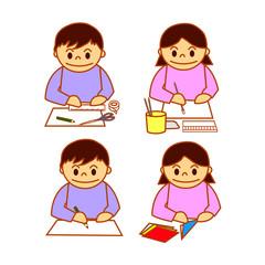 図画工作をする子供