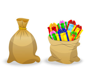 two  sacks with gifts on a white background