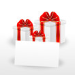 gift boxes and sheet of paper with a mestome for text